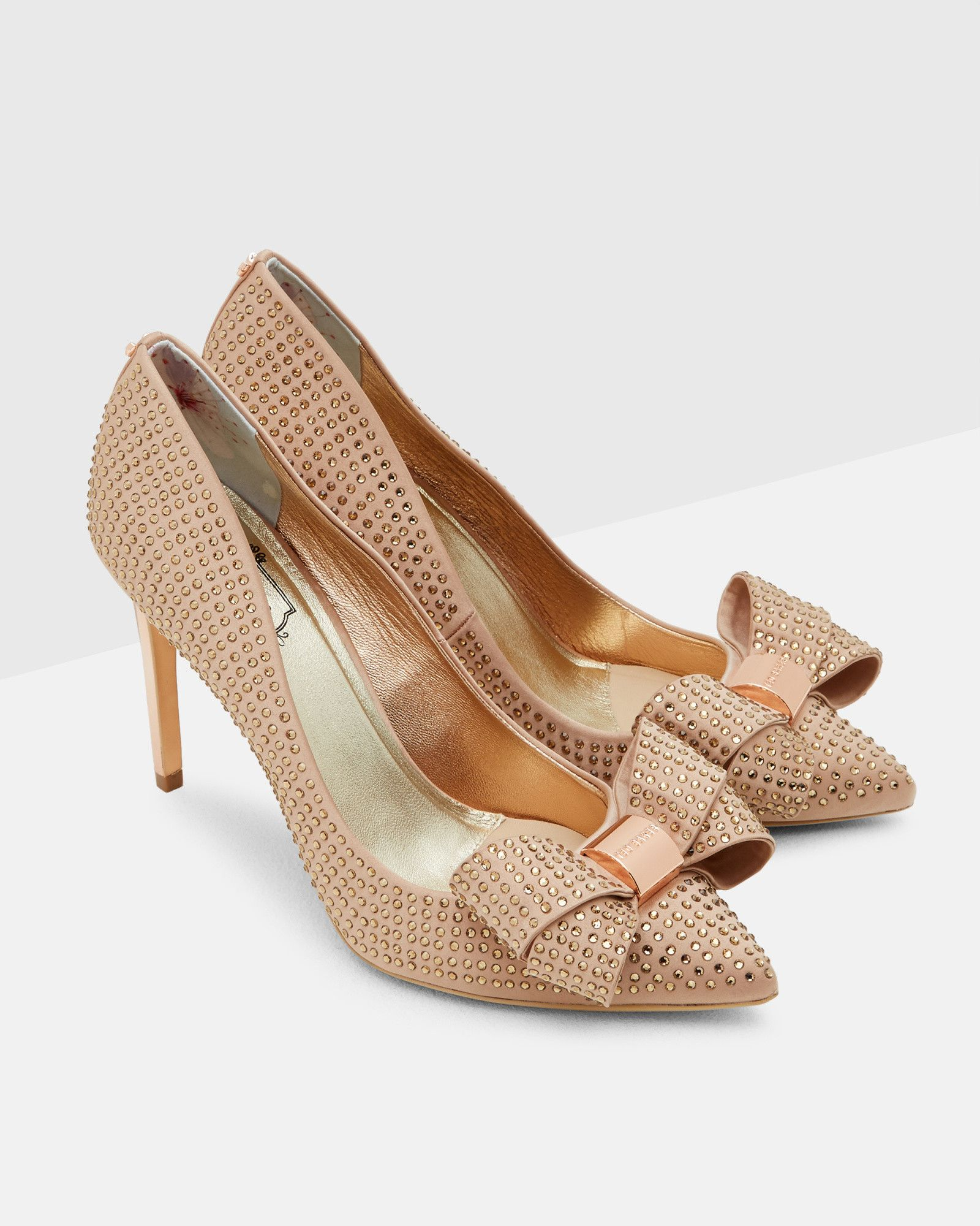 Studded bow court shoes Rose Gold Shoes Ted Baker UK