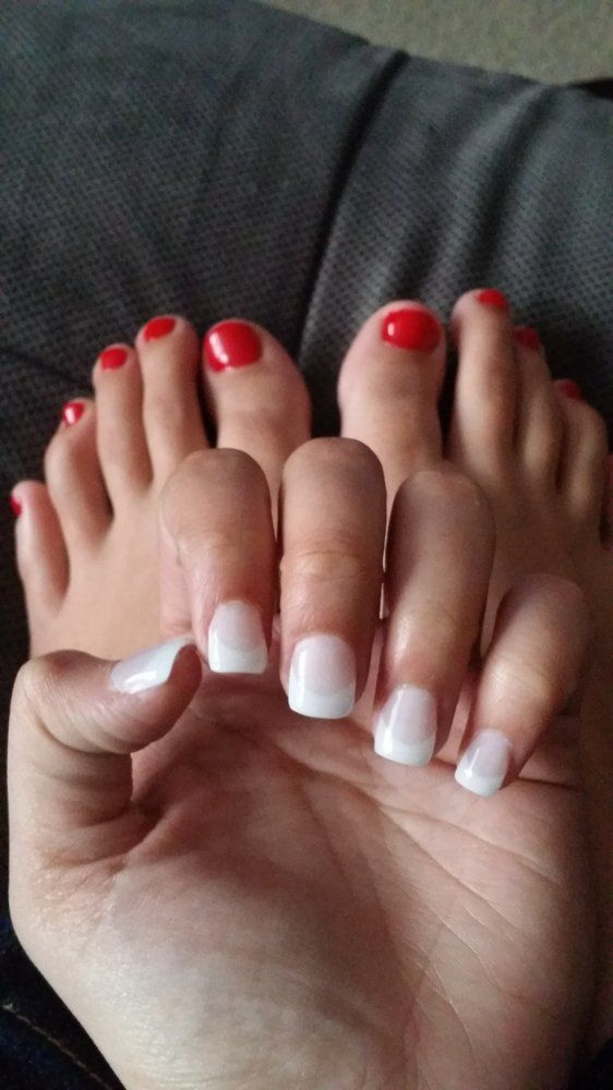 gel nails red and white - Google Search   Nails   Pinterest