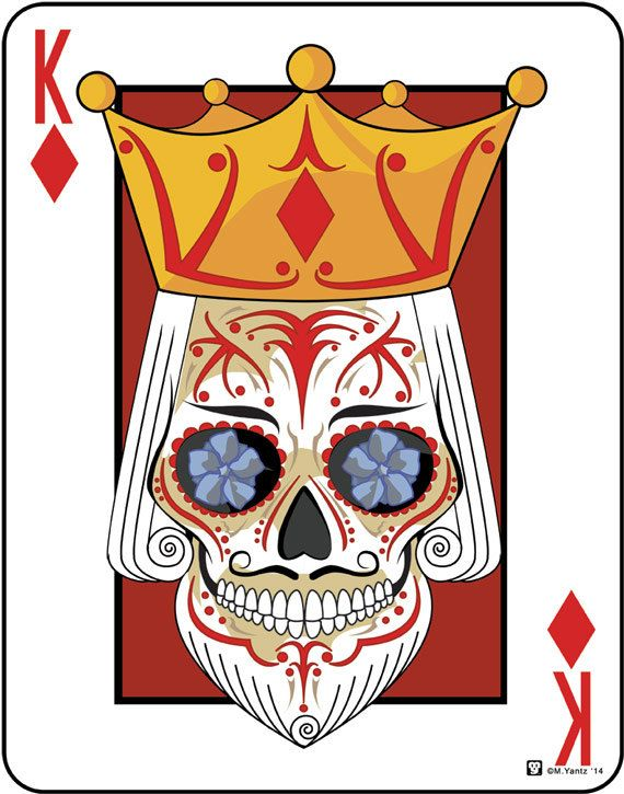 King of Diamonds Sugar Skull Playing Card 11x14 print by ...