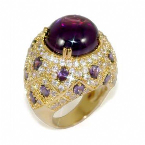 Sabahs 14k Gold Moroccan Style Purple Cocktail Ring Only 8295