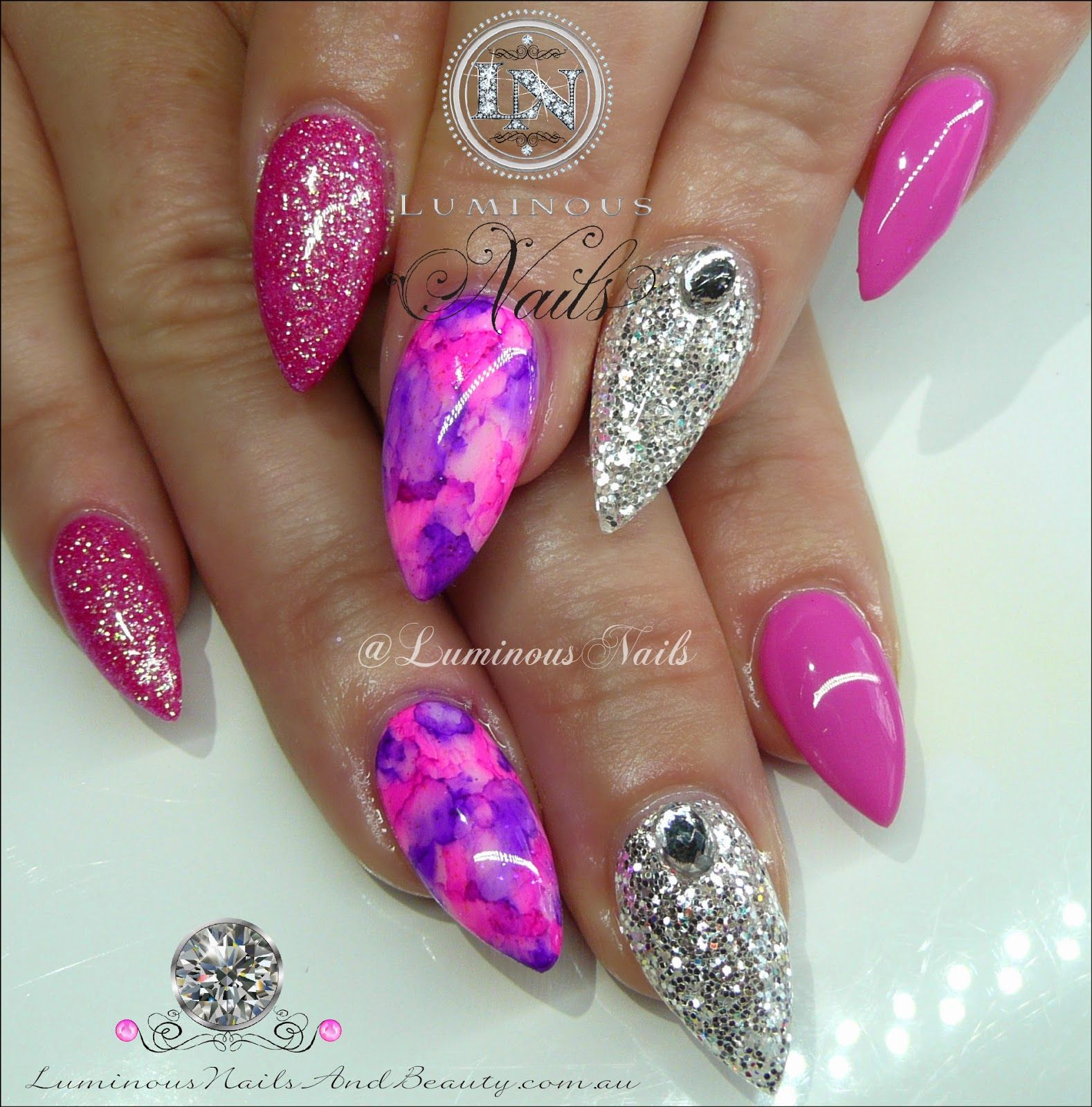 Pink and silver nails - Blue Glitter Nails On Pinterest Long Fingernails Glitter Royal Blue And Silver Nail Designs