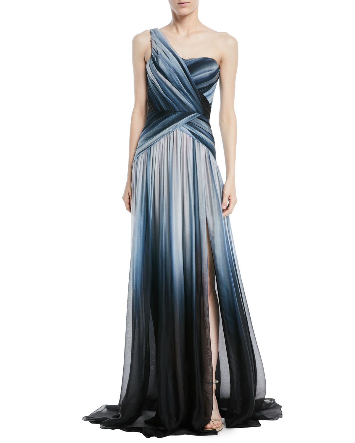 02f99a30376 Pamella Roland One-Shoulder Ombre-Printed Chiffon Evening Gown ...