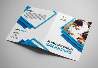 bifold brochure layout with blue borders clinic marketing