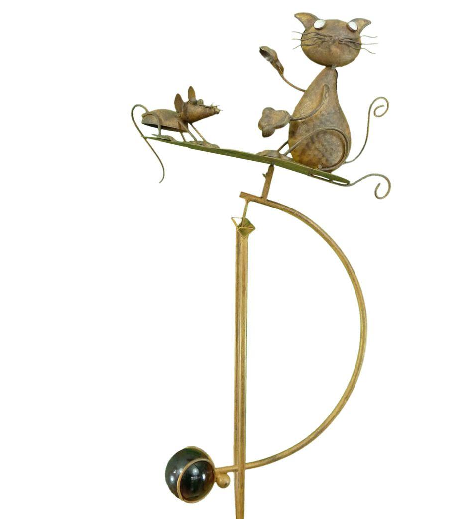 Rocking Balancing Cat U0026 Mouse On Leaf Metal Garden Wind Rocker Spinner  Ornament