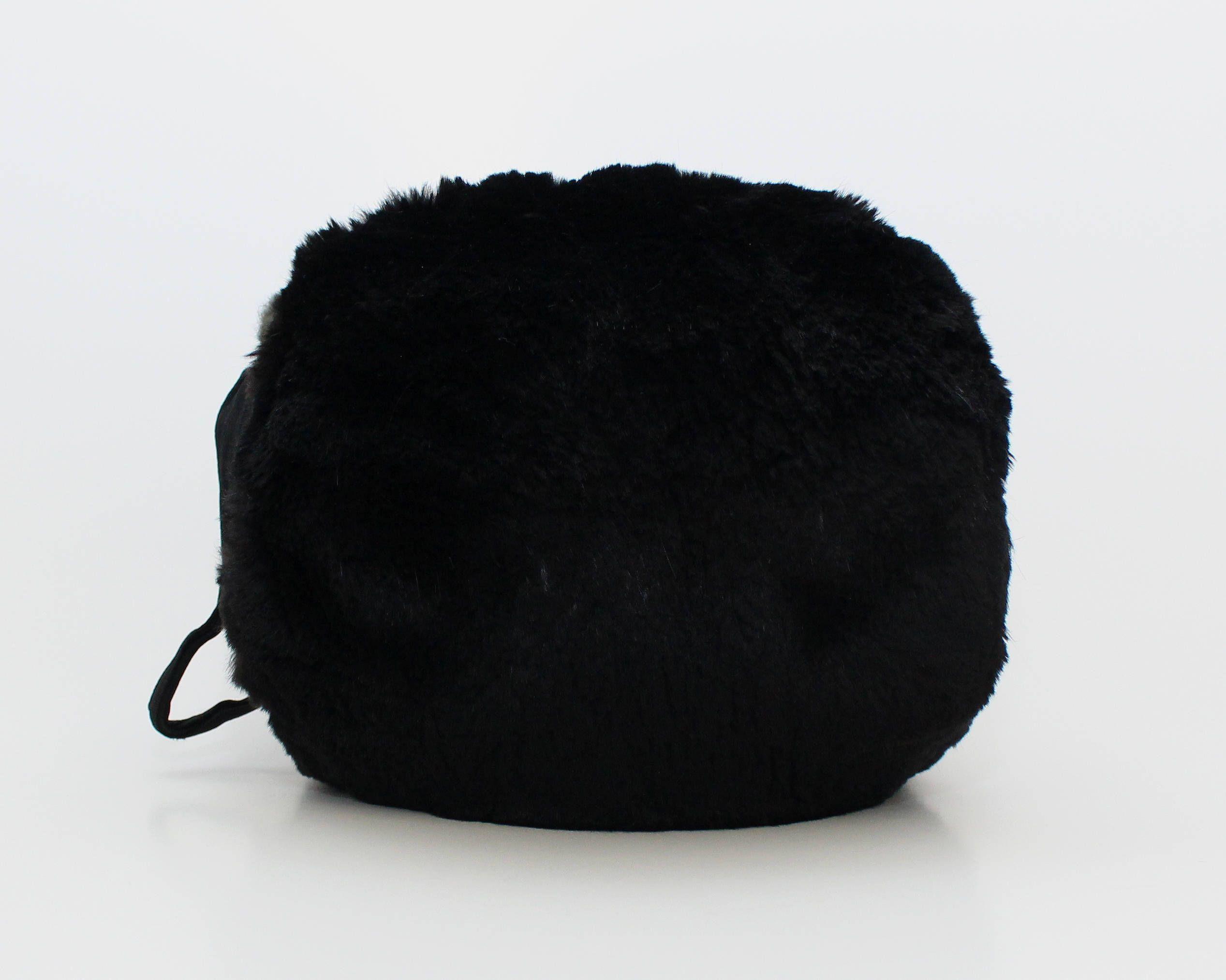 02f790c39 Vintage 1940s Black Rabbit Fur Hand Warmer Muff | The Birdcage ...