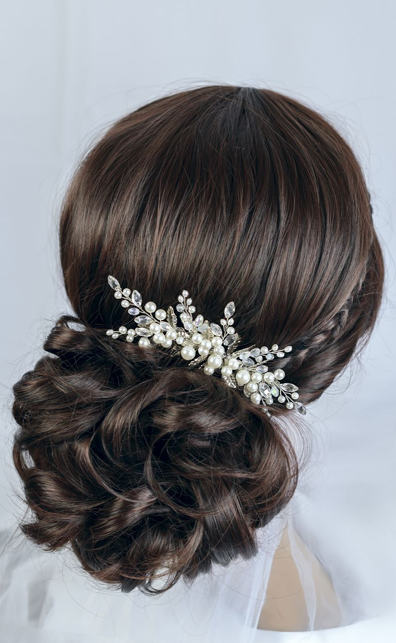pearl and crystal wedding hair comb, bridal hair comb by