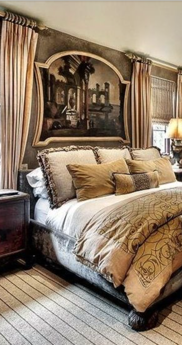 Gorgeous Tuscan Master Bedroom With Beautiful Bedding And Artwork Above The  Headboard!