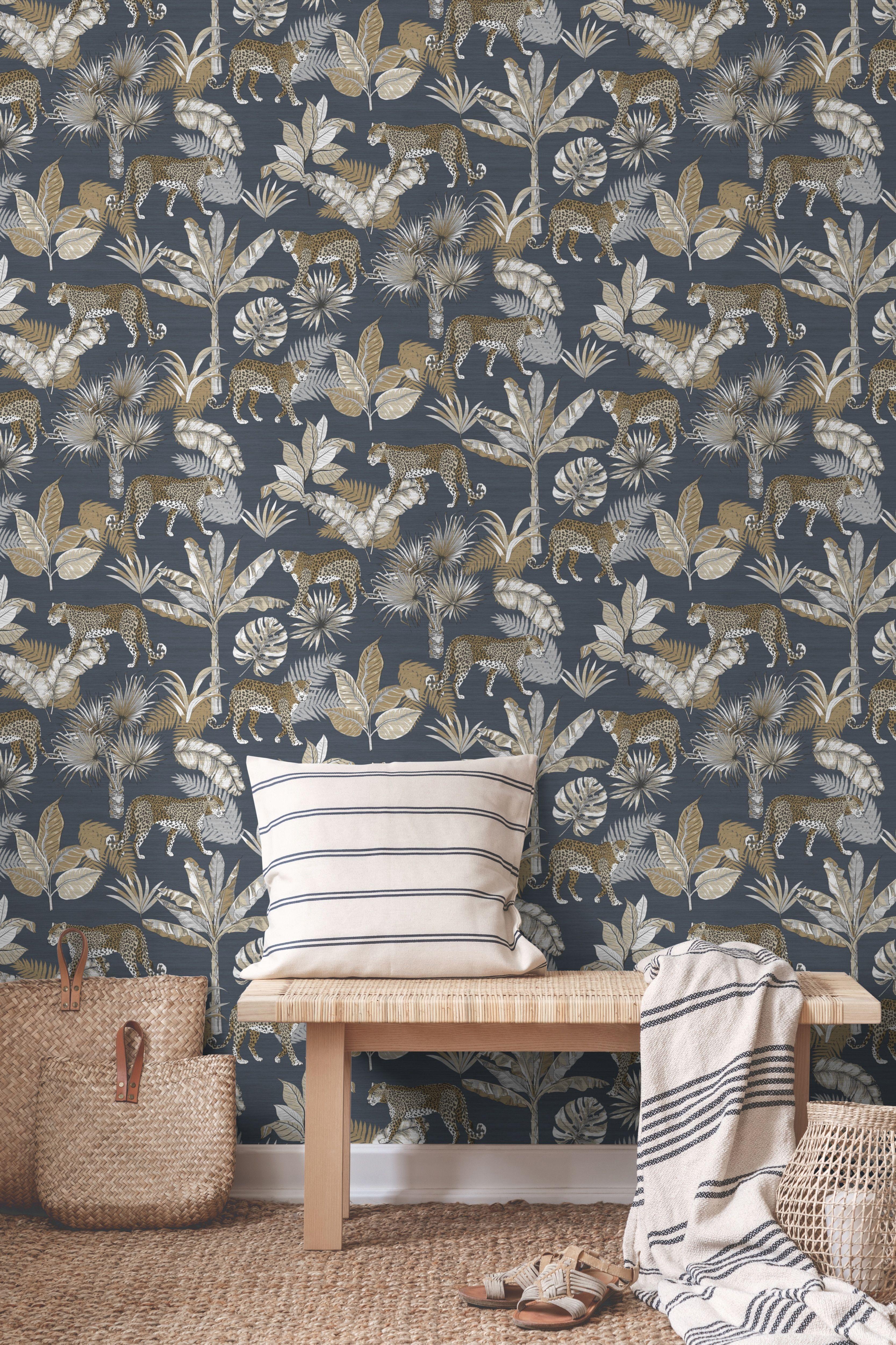 Rw108 Charcoal Wallpaper Jungle Wallpaper Interior