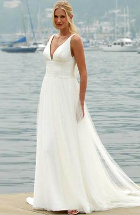 Wedding Dresses For Beach Weddings White Flowing Dress