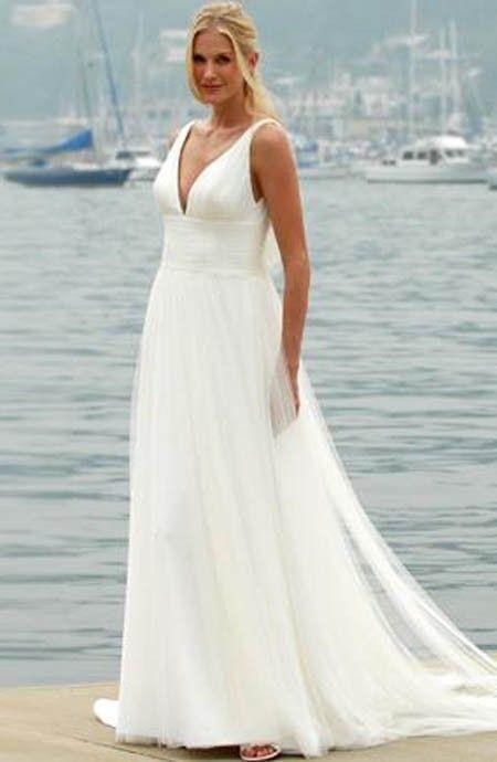 wedding dresses for beach weddings | white flowing beach wedding ...