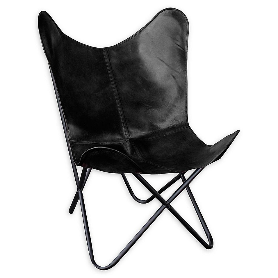 Amerihome Leather Butterfly Chair In Black