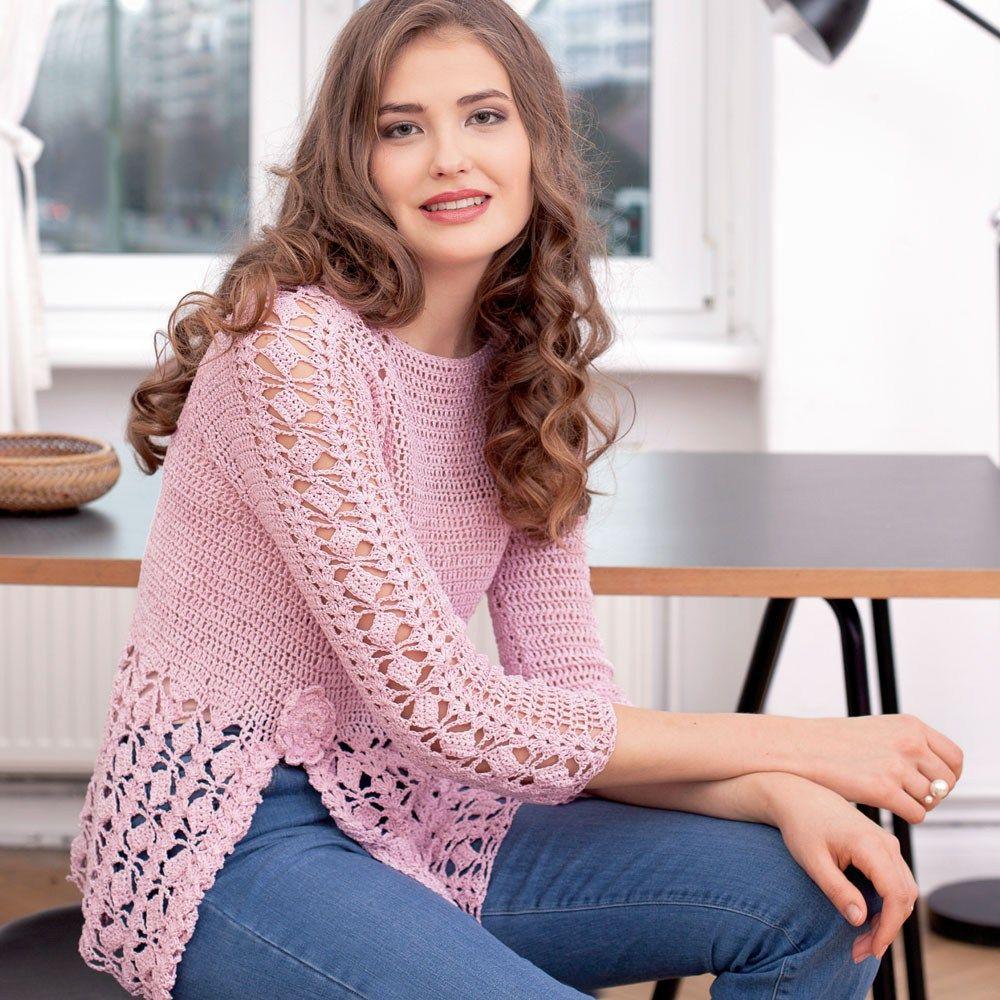 CROCHET PULLOVER — Crochet by Yana | Pink crochet Blouses, sweter ...