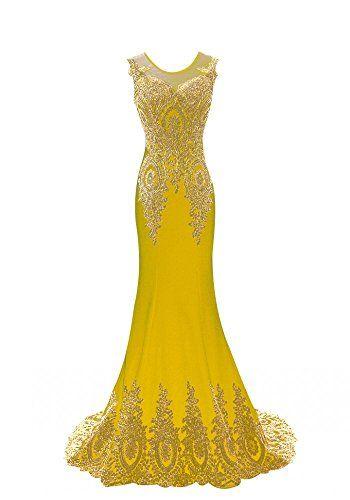 Kings Love Womens Mermaid Evening Dress Lace Embroidery Sleeveless ...