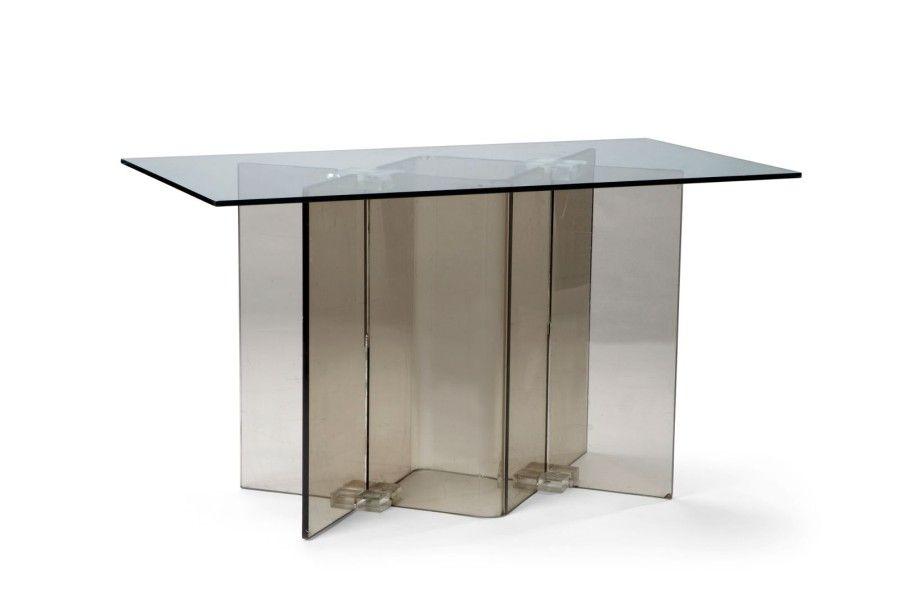 Pied de table ou bureau 1970 Plexiglas fum 75 x 130 x 70 cm