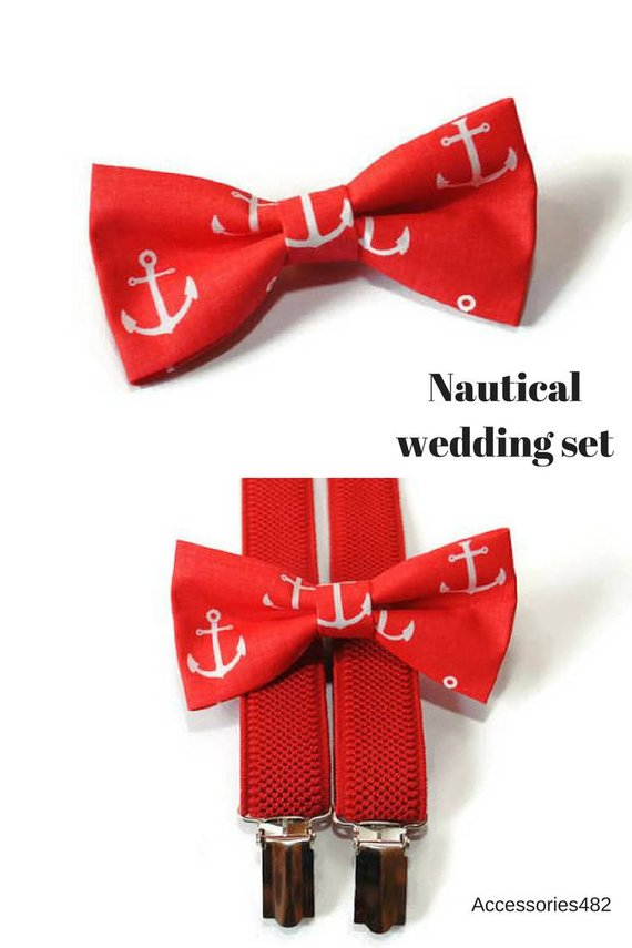 19b2cfa5b9ea birthday gift for boys red nautical bow tie and red adjustable suspenders  set for birthday party gif