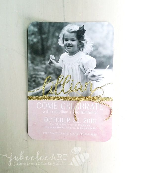 Princess pink and gold birthday invitation – Toddler Girl Birthday Invitations