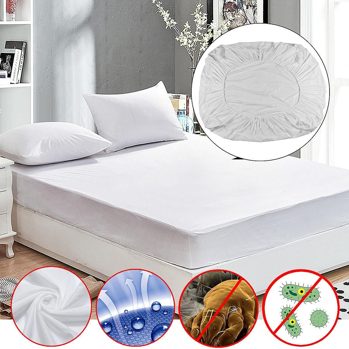 Anti Dust Mite Mattress Protector Cover Breathable Fitted