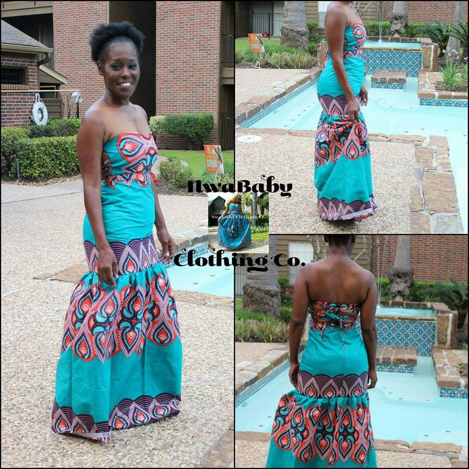 Ankara Long Strapless PROM DRESS Ballgown, open back fit and flare ...