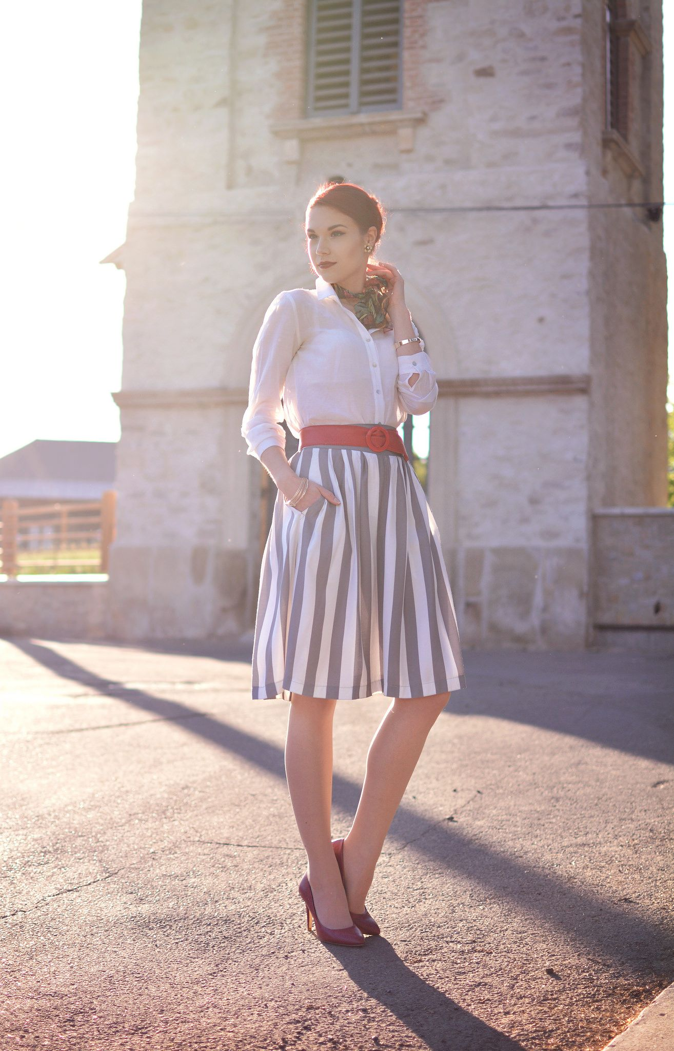Stripped skirt bloggers uc i the wonder fashion pinterest