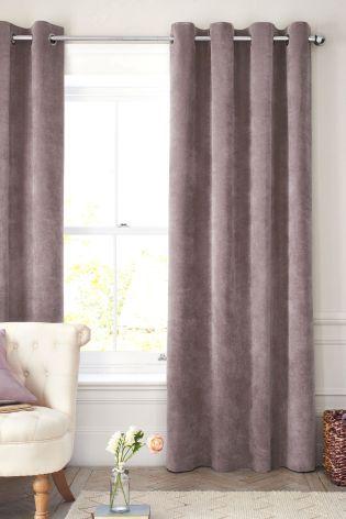 Captivating Mauve Soft Velour Eyelet Curtains