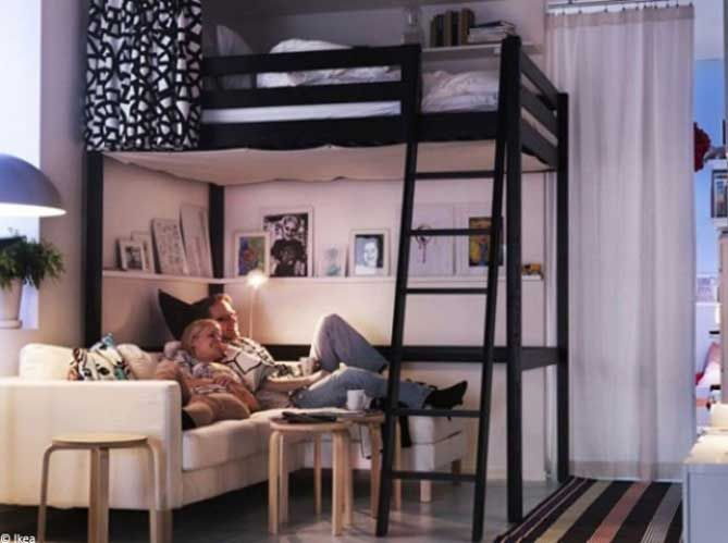 5 fa ons d am nager une petite surface cosy pinterest appartement petit appartement et lit. Black Bedroom Furniture Sets. Home Design Ideas