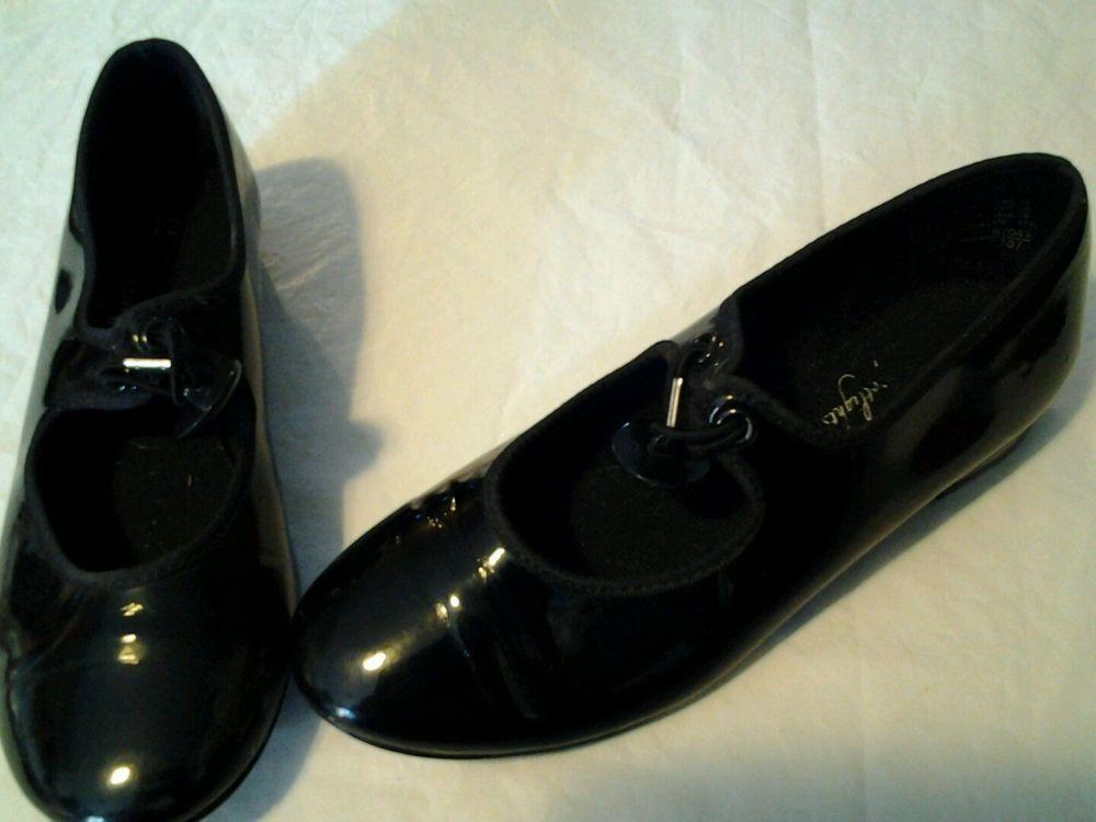 Girls Sz Black Tap Shoes ABT Button Closure ABT Stuff To - Abt shoes