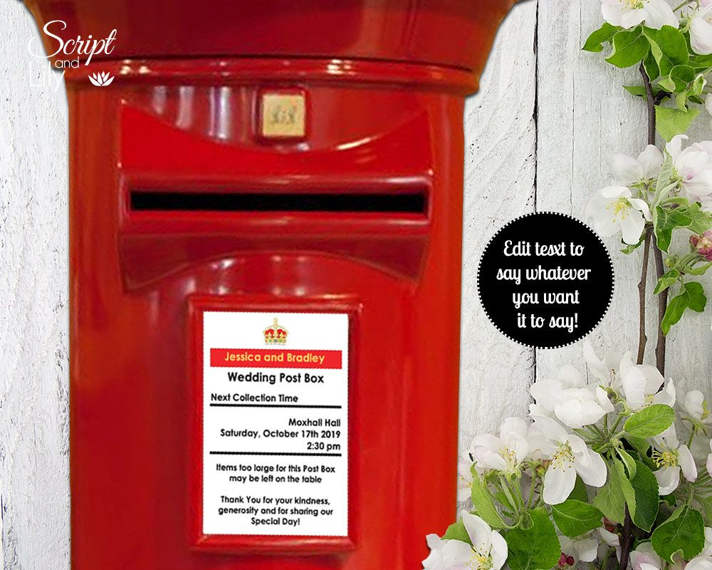 Post Box Editable Sign | Red White | DiY | Wedding Card Box | Mail ...