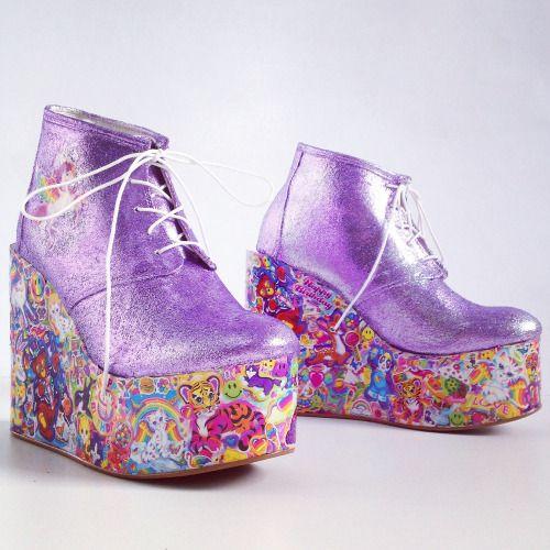 Lisa Frank Kawaii Glitter Hand Made Rainbow Platform Wedge Ankle Boots