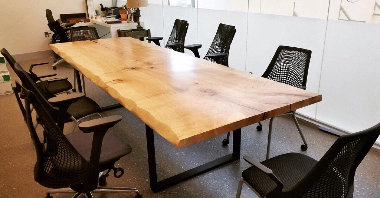 Single Slab Solid Maple Live Edge Dining Table L Custom Bases