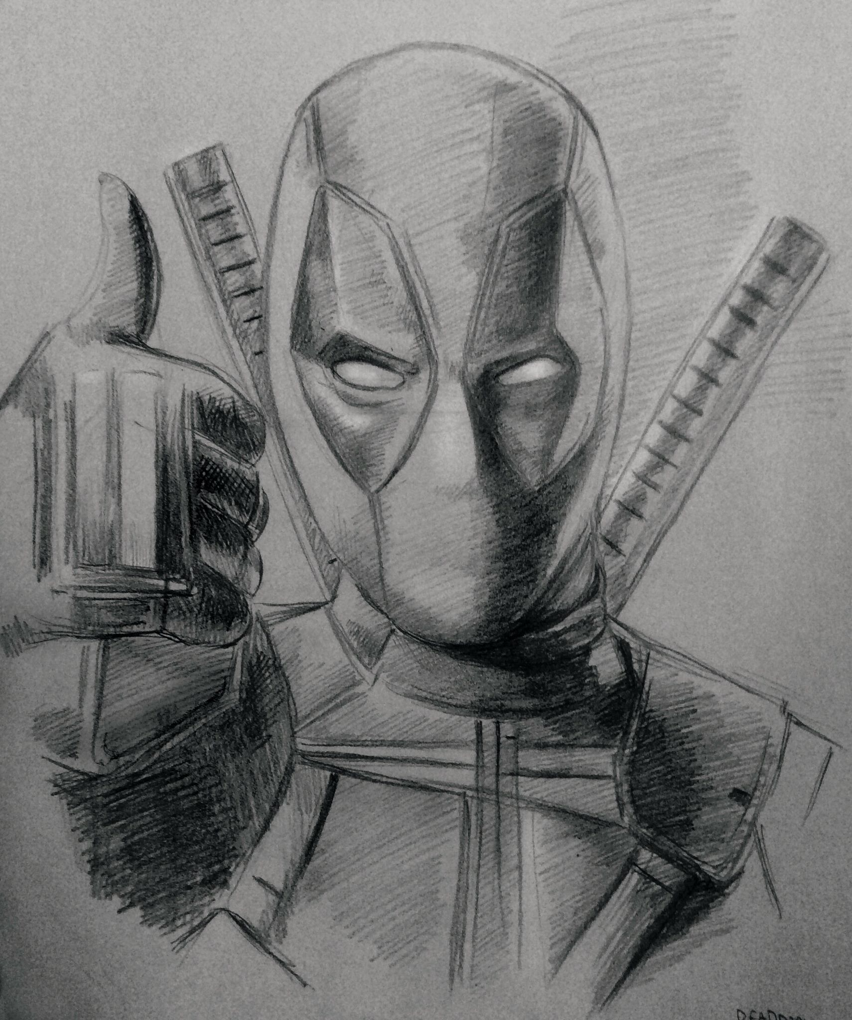 Pencil sketch of deadpool drawing art deadpool marvel