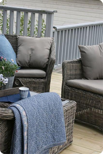 Blue Grey Modern Patio Furniture Outdoor Wicker Furniture Home Goods Decor