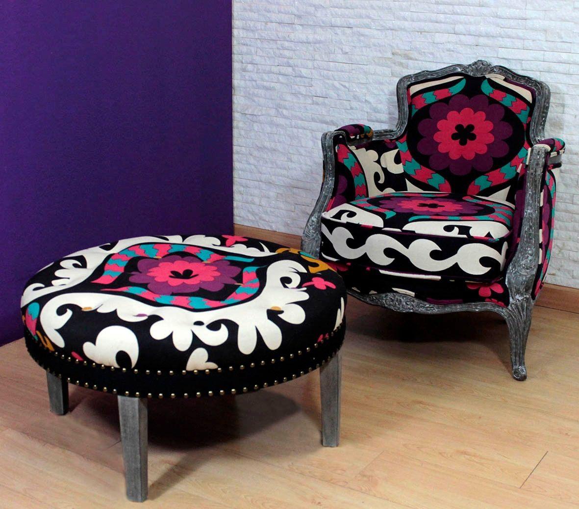 Mesa redonda y sillón Otomano, exclusivo en Iskia. India | Muebles ...
