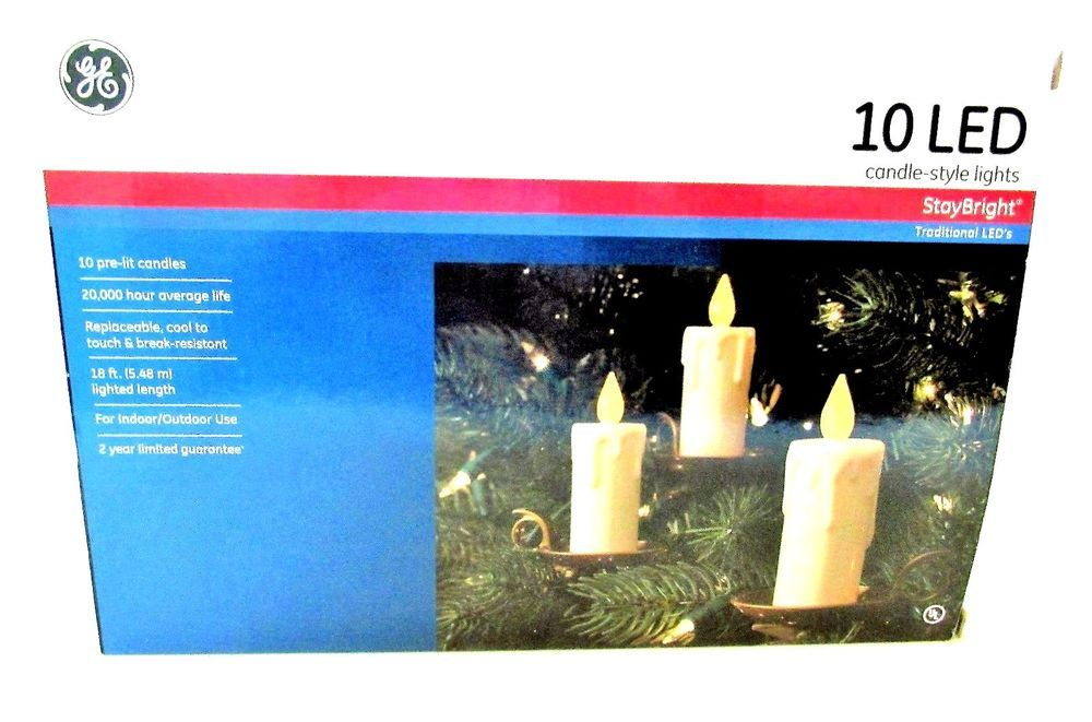 ge led candle style stay bright christmas lights 10 pre lit indooroutdoor