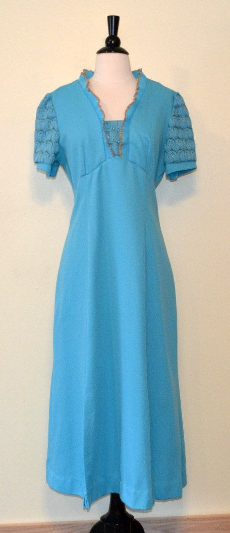 1970's Blue with Gold Trim Maxi Dress by KrisVintageClothing, $34.00