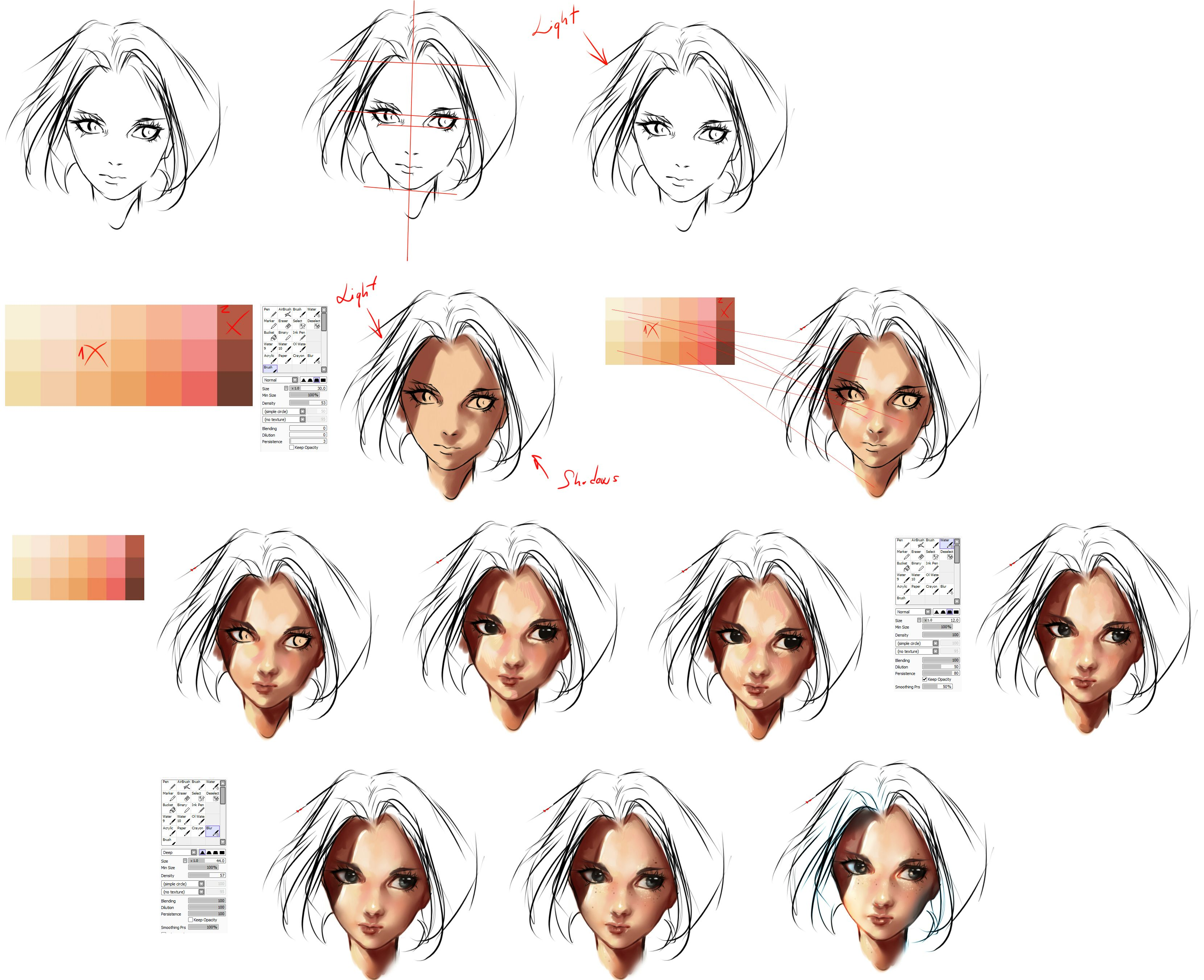 Face Coloring Tutorial By Rykyviantart On