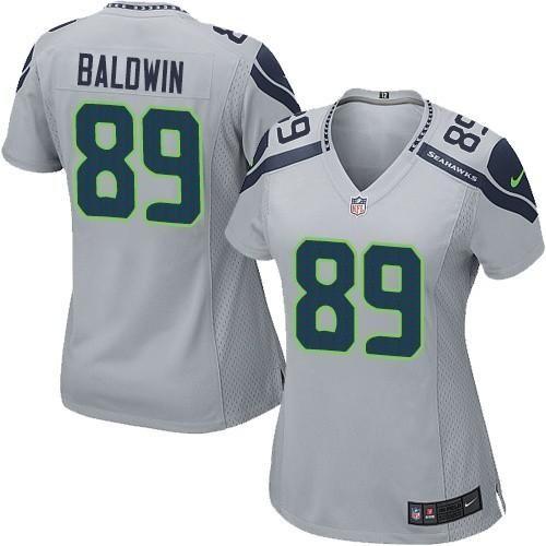 Nike Seahawks #89 Doug Baldwin Grey Alternate Women's Stitched NFL Elite  Jersey