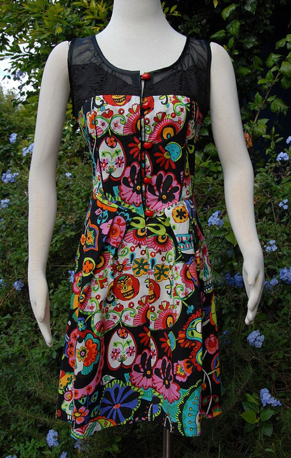 Rainbow Sugar Skull Dress with Black Lace & Broidery by Jezenya