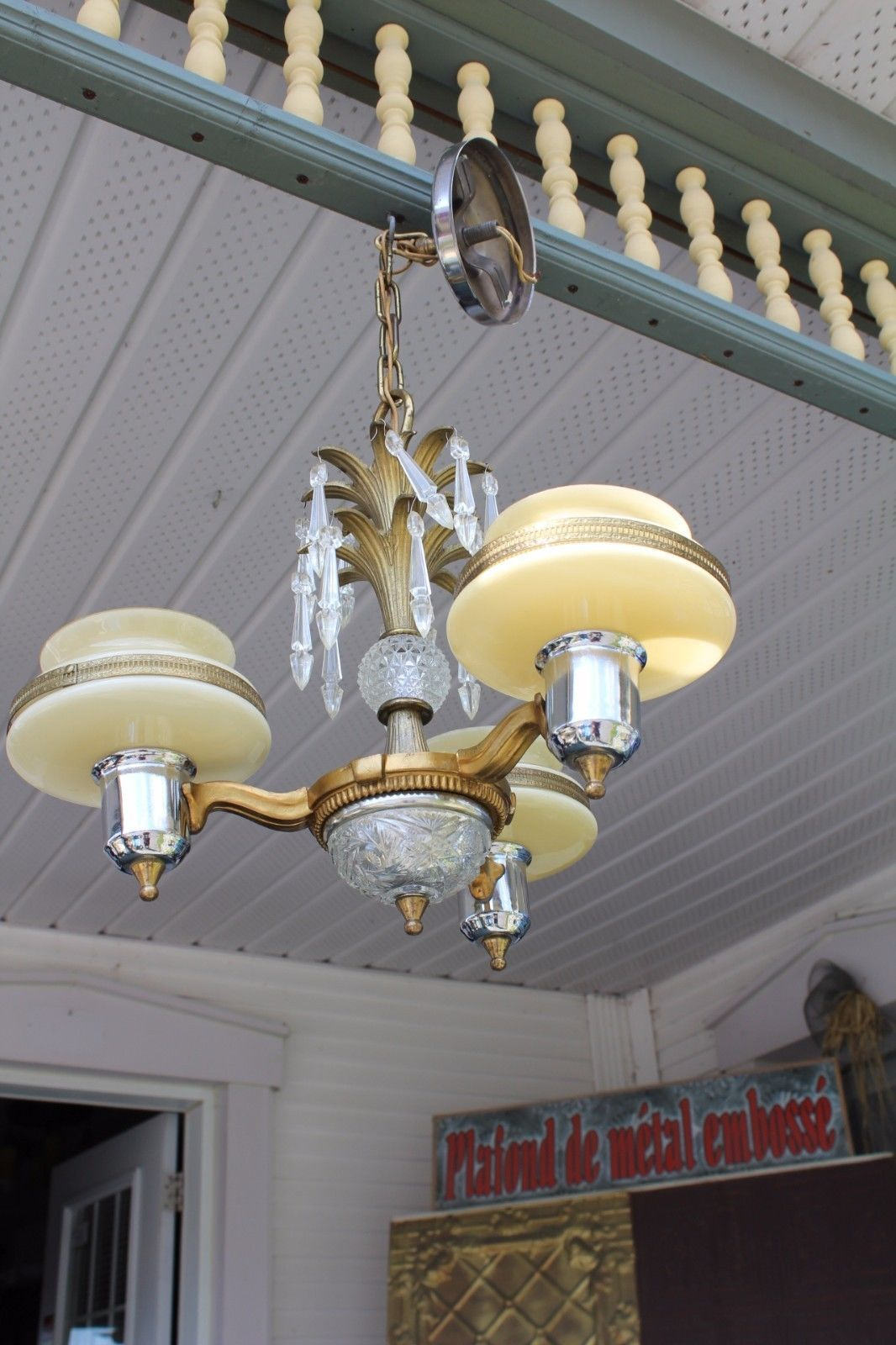 Antique art deco ceiling chandelier with custard glass slip shade antique art deco ceiling chandelier with custard glass slip shade vintage arubaitofo Gallery