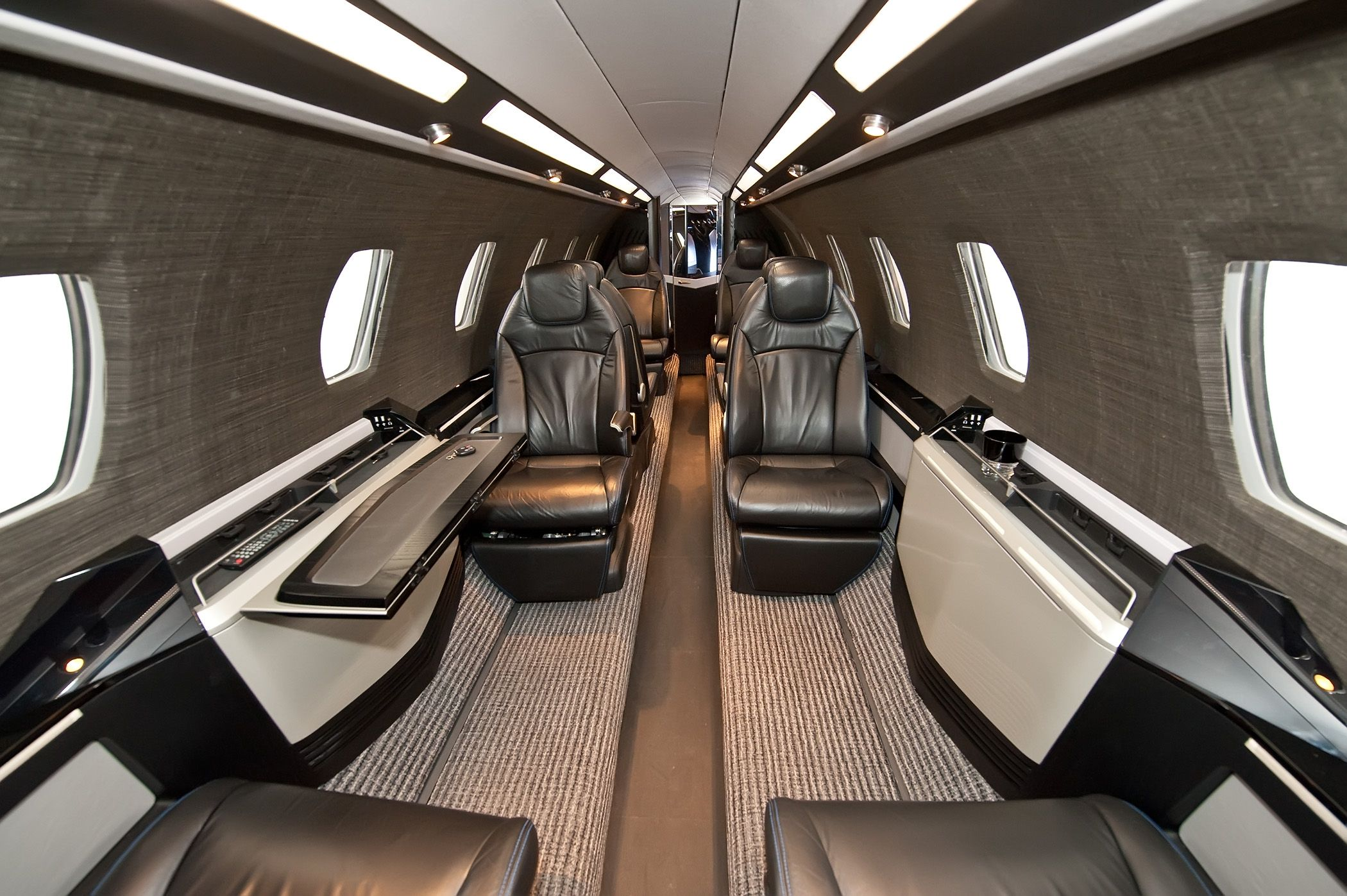 Private jet interior furnished like a vintage train aviation - Find This Pin And More On Aircraft Interiors