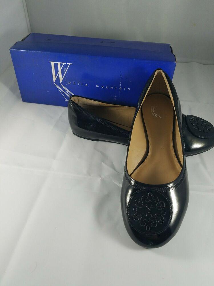 Womens WHITE MOUNTAIN Cecilia Black Ballet Flats Slip On Shoes Crest 9M