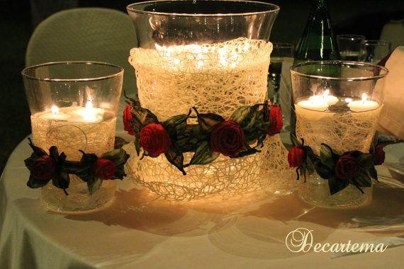 Centrotavola vaso con candele galleggianti di decartema u ac