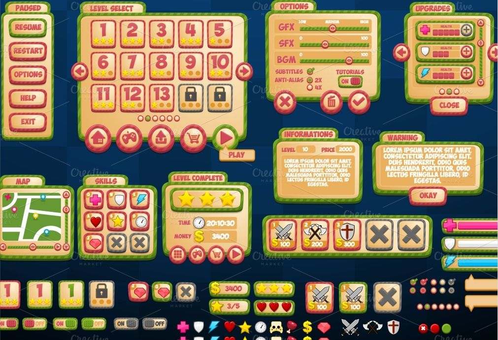 Cartoon Games GUI Pack 8 by pzUH on @creativemarket