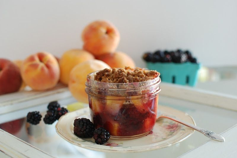 Peach and Blackberry Cobbler in Mason Jars posted by Simply So Good