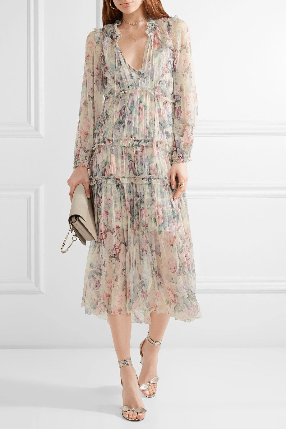 6f61bc24fb2 zimmermann Zimmermann, Floral Midi Dress, Ruffle Trim, Ruffles, Silk Dress,  Dress