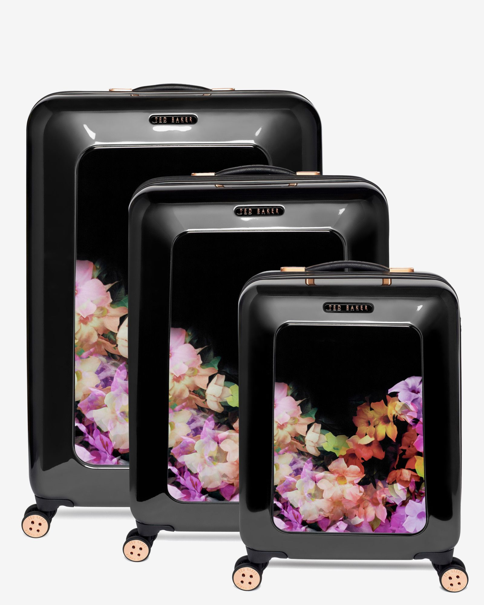 Medium cascading floral suitcase Black Bags Ted