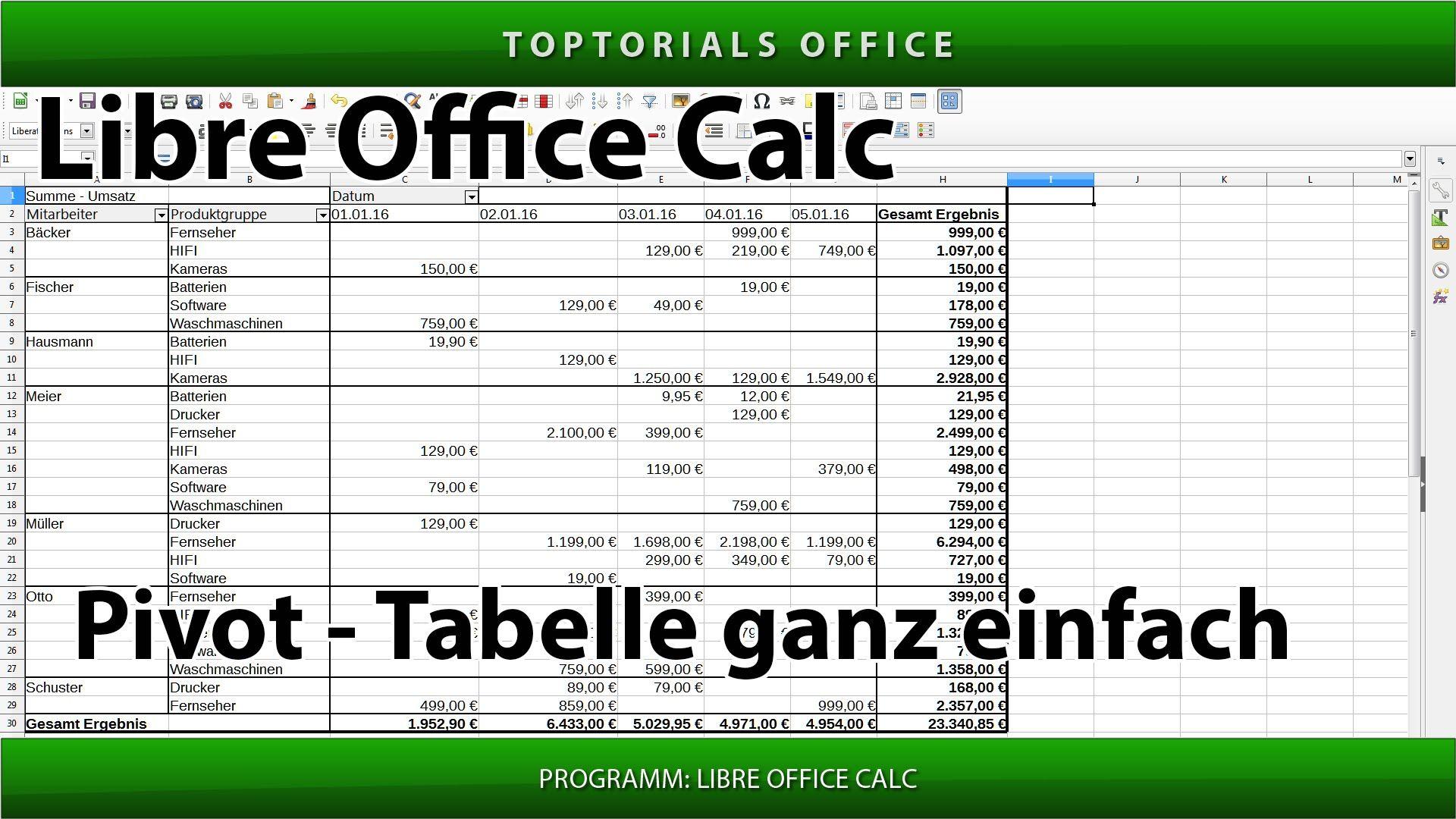 Pivot Tabelle Ganz Einfach Erstellen Libre Office Calc Pivottabelle Tabelle Einfach Office