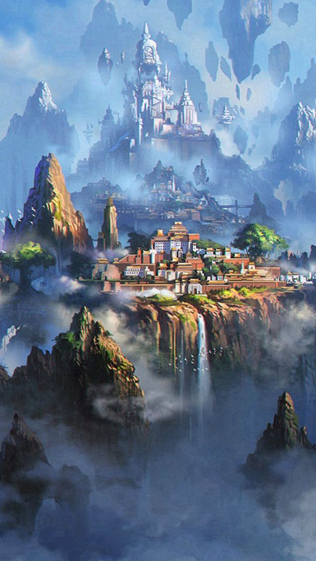 Cloud Town Fantasy Anime Illustration Art #iPhone #5s #wallpaper | iPhone 5~SE Wallpapers