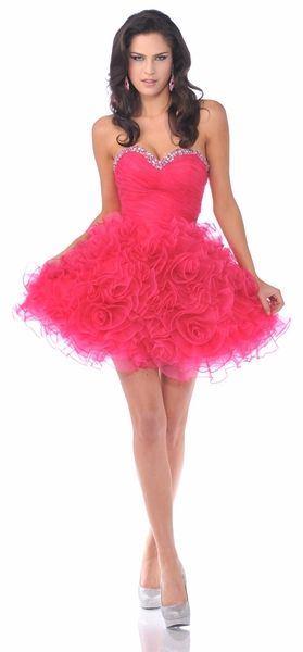 c234d385b0 Hot Pink Short Prom Cocktail Dress Organza Rhinestone Bodice Ruffled ...