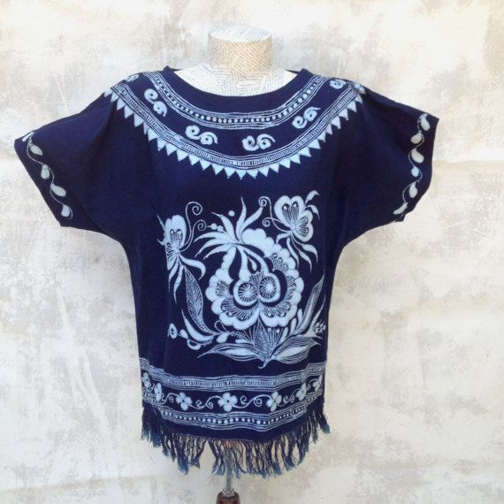 Vintage Hippie Batik Women's Hand Made Blouse Navy Fringe Size Small Cotton on Etsy, $25.00