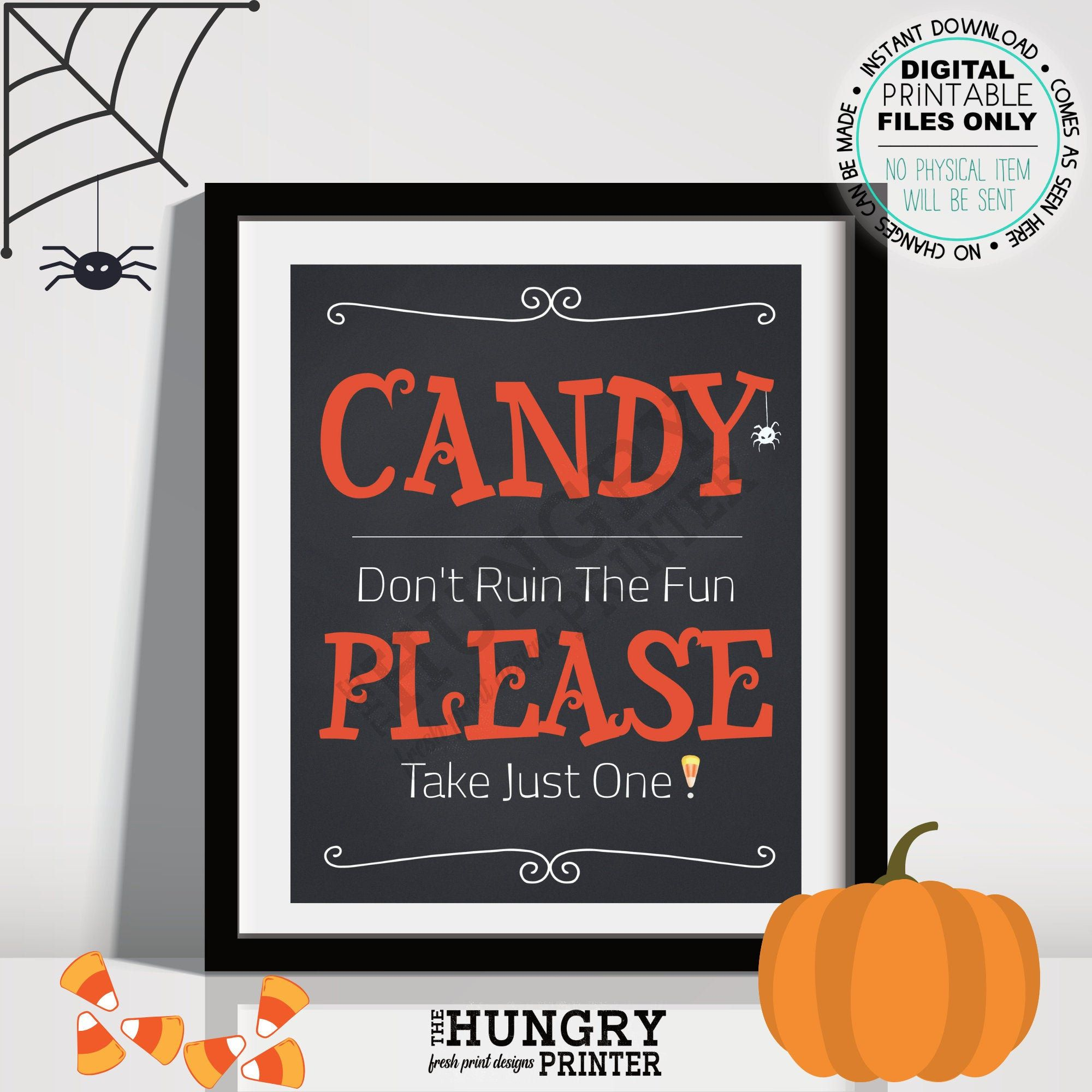 Halloween Candy Sign, candy take one,Printable, Halloween